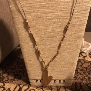 Necklace hammered gold heart
